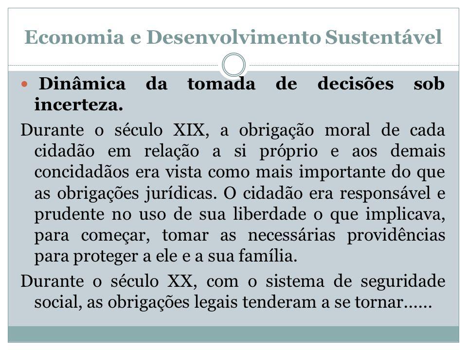 Economia e Desenvolvimento Sustentável Dinâmica da tomada de decisões sob incerteza. Durante o século XIX, a obrigação moral de cada cidadão em relaçã