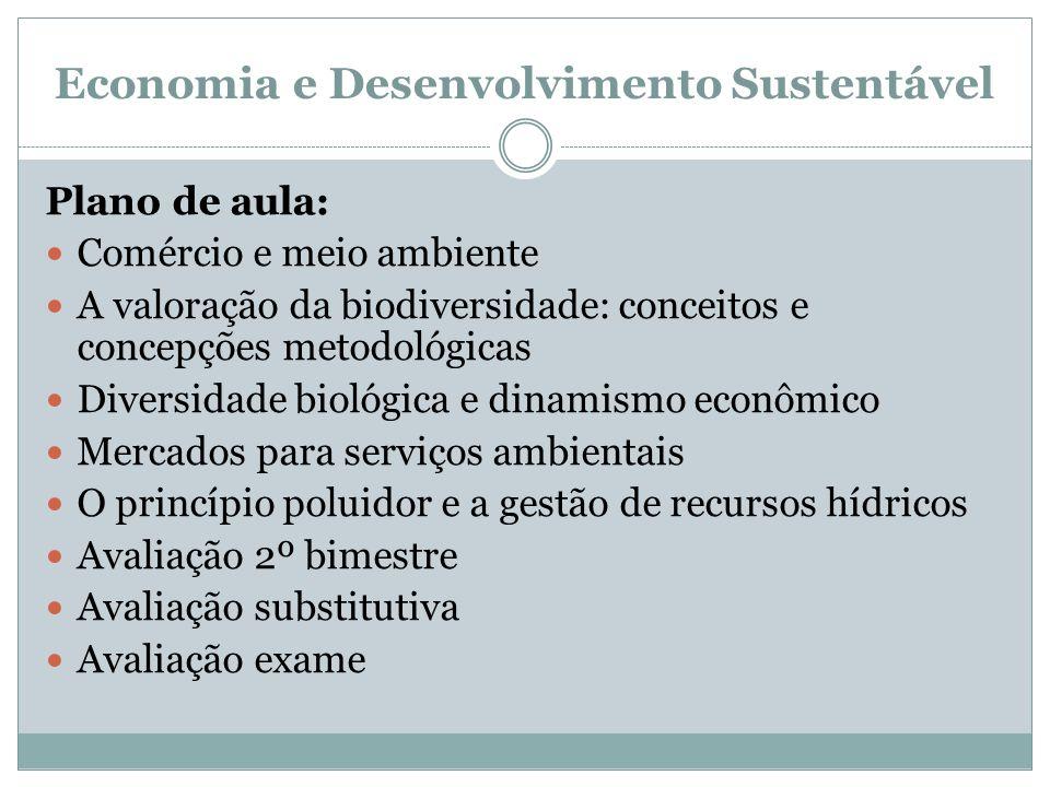 Economia e Desenvolvimento Sustentável Plano de aula: Comércio e meio ambiente A valoração da biodiversidade: conceitos e concepções metodológicas Div