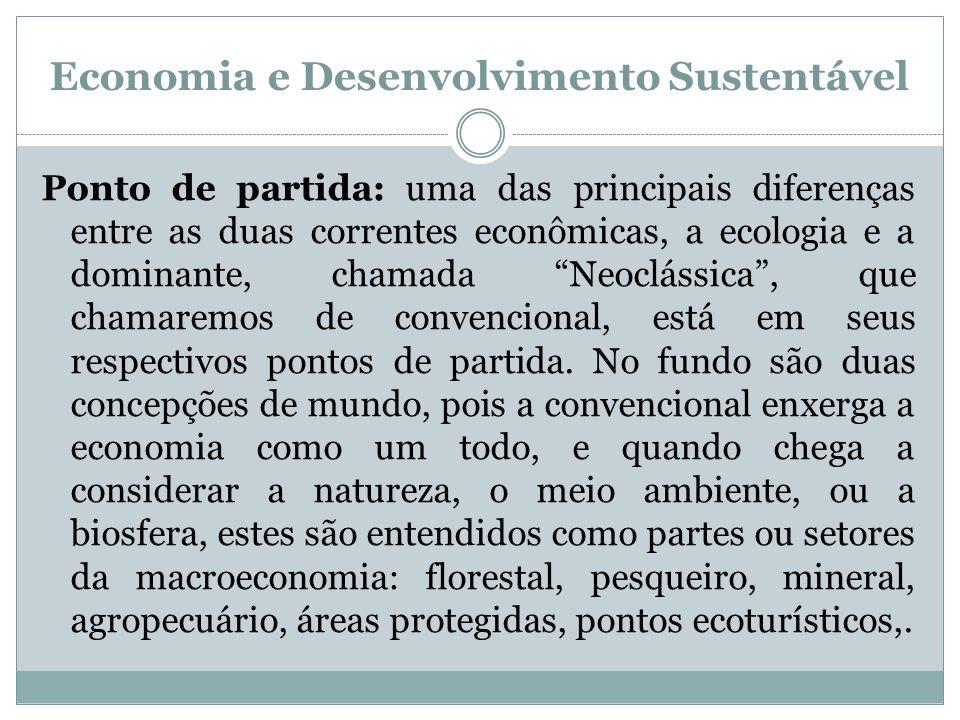 Economia e Desenvolvimento Sustentável Ponto de partida: uma das principais diferenças entre as duas correntes econômicas, a ecologia e a dominante, c