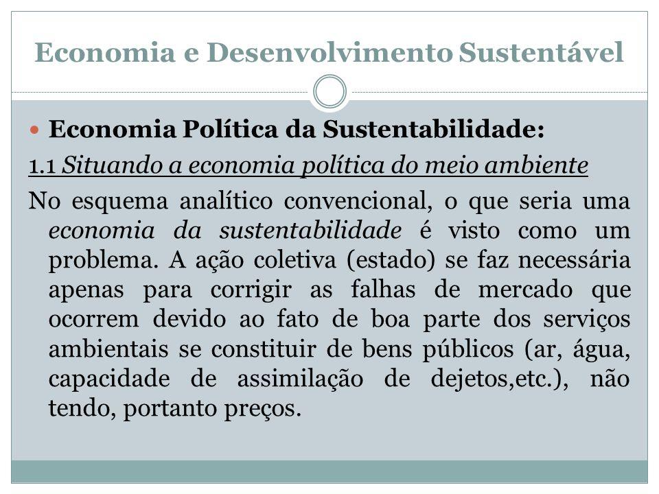 Economia e Desenvolvimento Sustentável Economia Política da Sustentabilidade: 1.1 Situando a economia política do meio ambiente No esquema analítico c