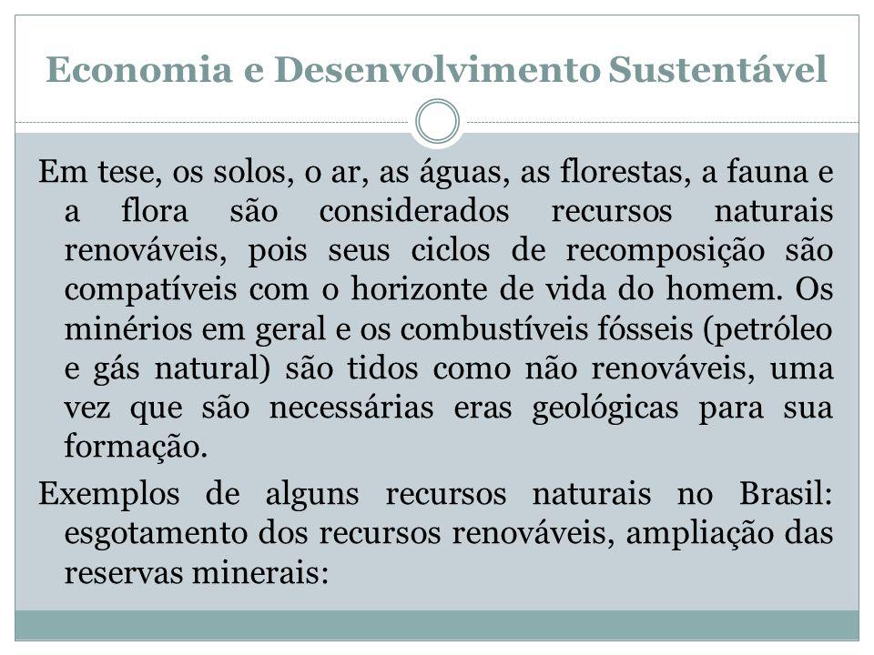 Economia e Desenvolvimento Sustentável Em tese, os solos, o ar, as águas, as florestas, a fauna e a flora são considerados recursos naturais renovávei