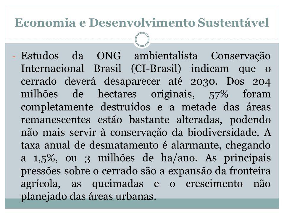 Economia e Desenvolvimento Sustentável - Estudos da ONG ambientalista Conservação Internacional Brasil (CI-Brasil) indicam que o cerrado deverá desapa