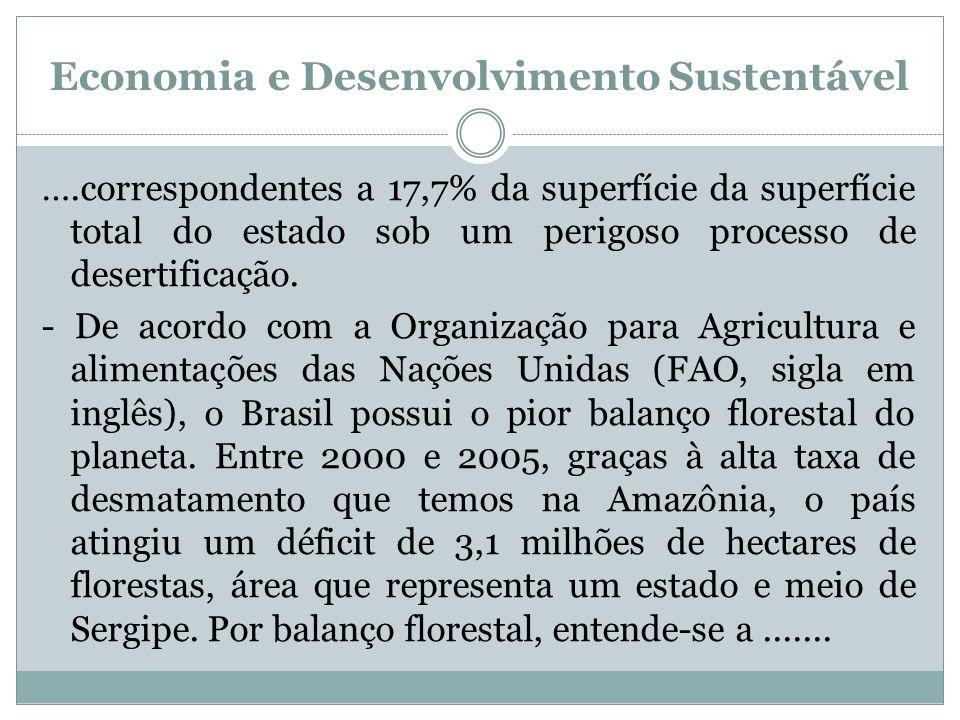 Economia e Desenvolvimento Sustentável ….correspondentes a 17,7% da superfície da superfície total do estado sob um perigoso processo de desertificaçã