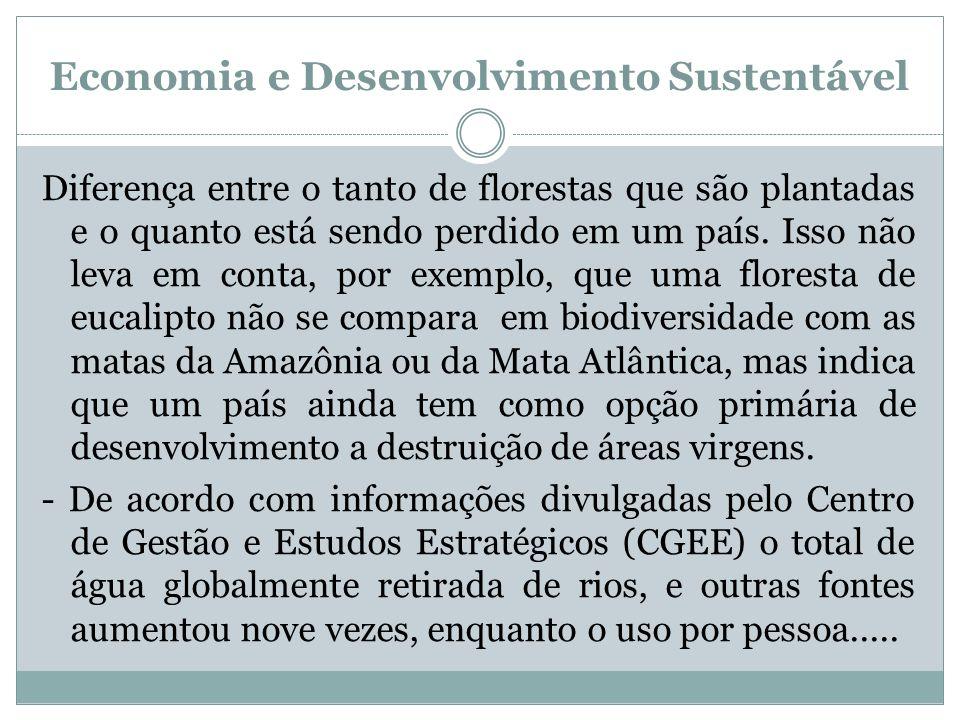 Economia e Desenvolvimento Sustentável Diferença entre o tanto de florestas que são plantadas e o quanto está sendo perdido em um país. Isso não leva