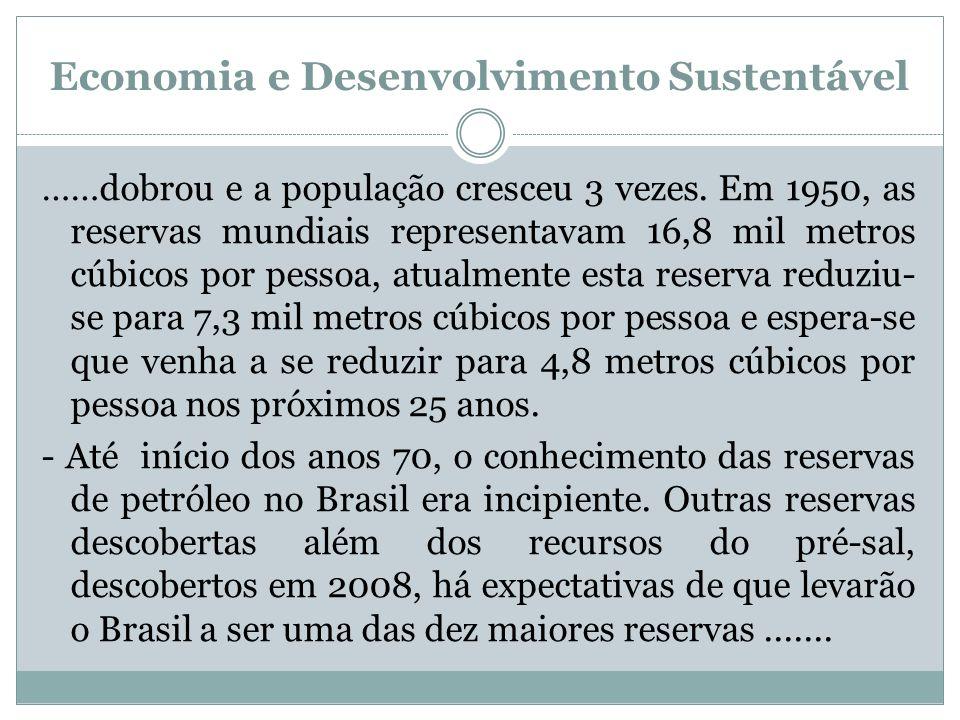 Economia e Desenvolvimento Sustentável ……dobrou e a população cresceu 3 vezes. Em 1950, as reservas mundiais representavam 16,8 mil metros cúbicos por
