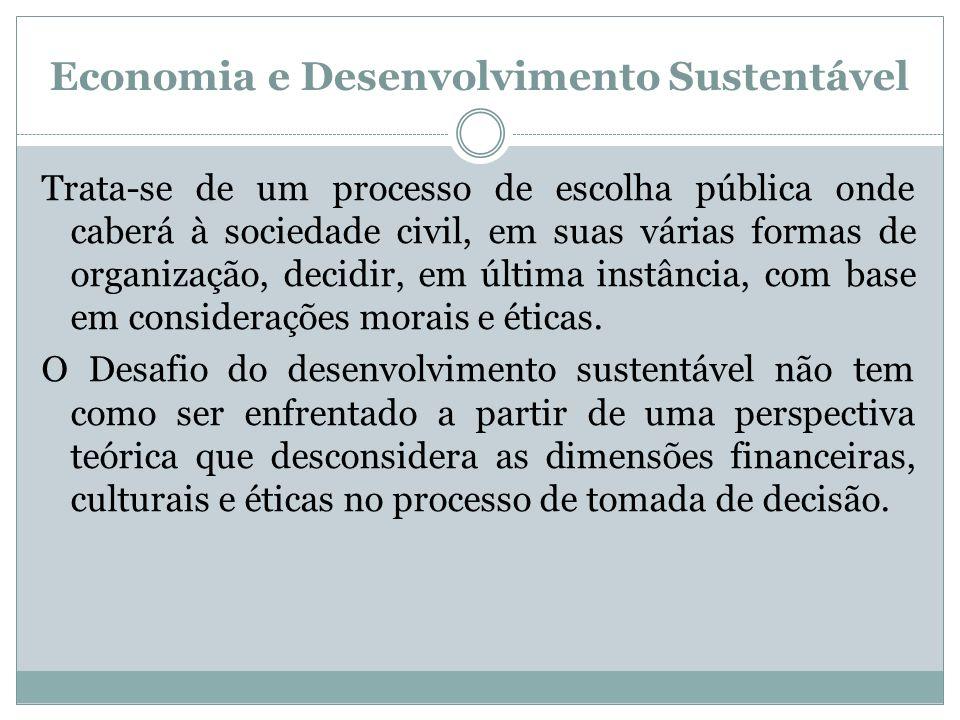 Economia e Desenvolvimento Sustentável Trata-se de um processo de escolha pública onde caberá à sociedade civil, em suas várias formas de organização,