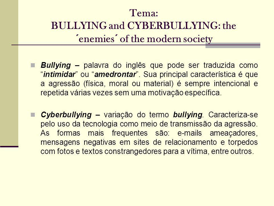 Tema: BULLYING and CYBERBULLYING: the ´enemies´ of the modern society Bullying – palavra do inglês que pode ser traduzida comointimidar ou amedrontar.