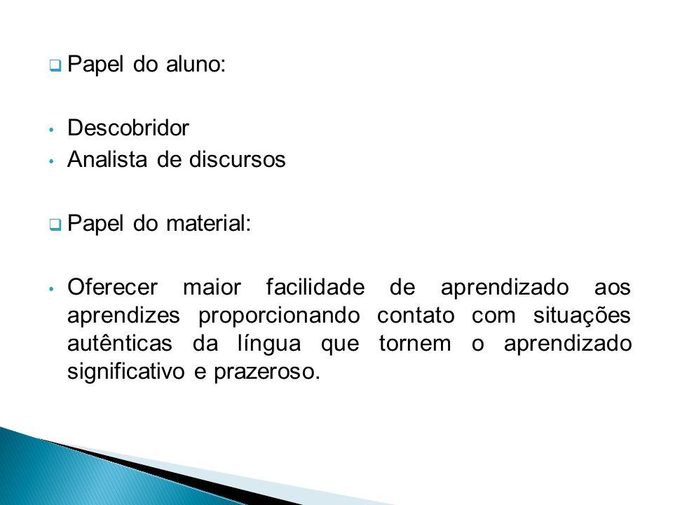 Papel do aluno: Descobridor Analista de discursos Papel do material: Oferecer maior facilidade de aprendizado aos aprendizes proporcionando contato co