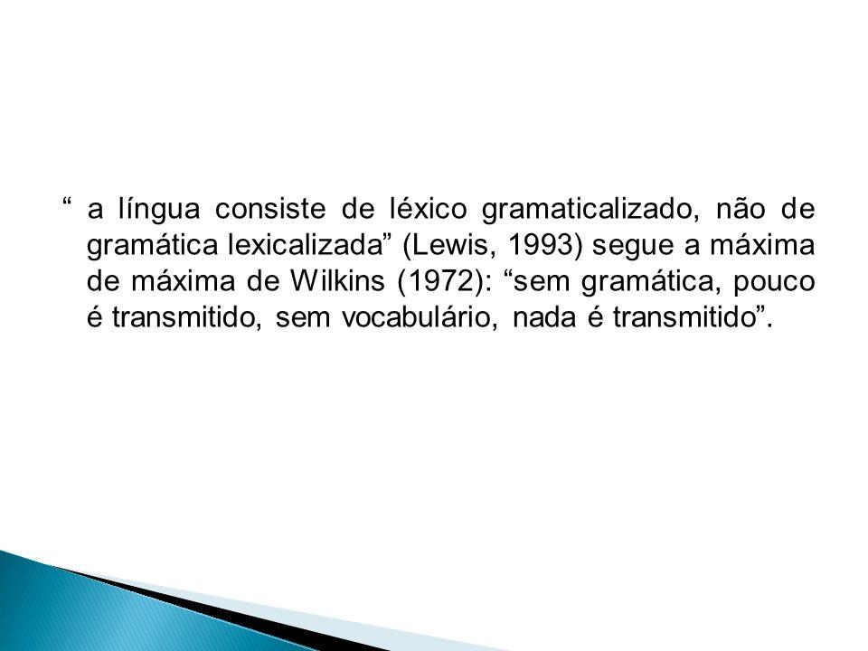 a língua consiste de léxico gramaticalizado, não de gramática lexicalizada (Lewis, 1993) segue a máxima de máxima de Wilkins (1972): sem gramática, po