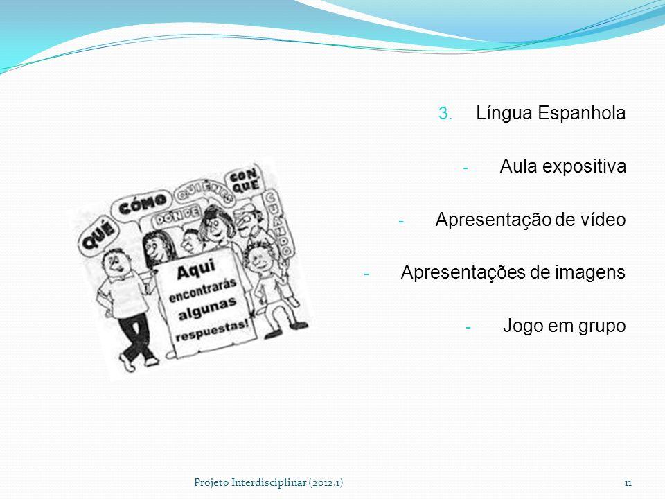 3. Língua Espanhola - Aula expositiva - Apresentação de vídeo - Apresentações de imagens - Jogo em grupo Projeto Interdisciplinar (2012.1)11