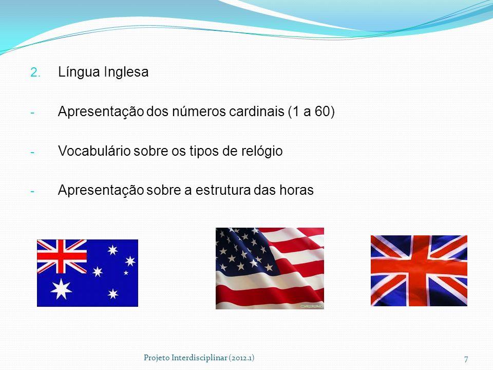 2. Língua Inglesa - Apresentação dos números cardinais (1 a 60) - Vocabulário sobre os tipos de relógio - Apresentação sobre a estrutura das horas Pro