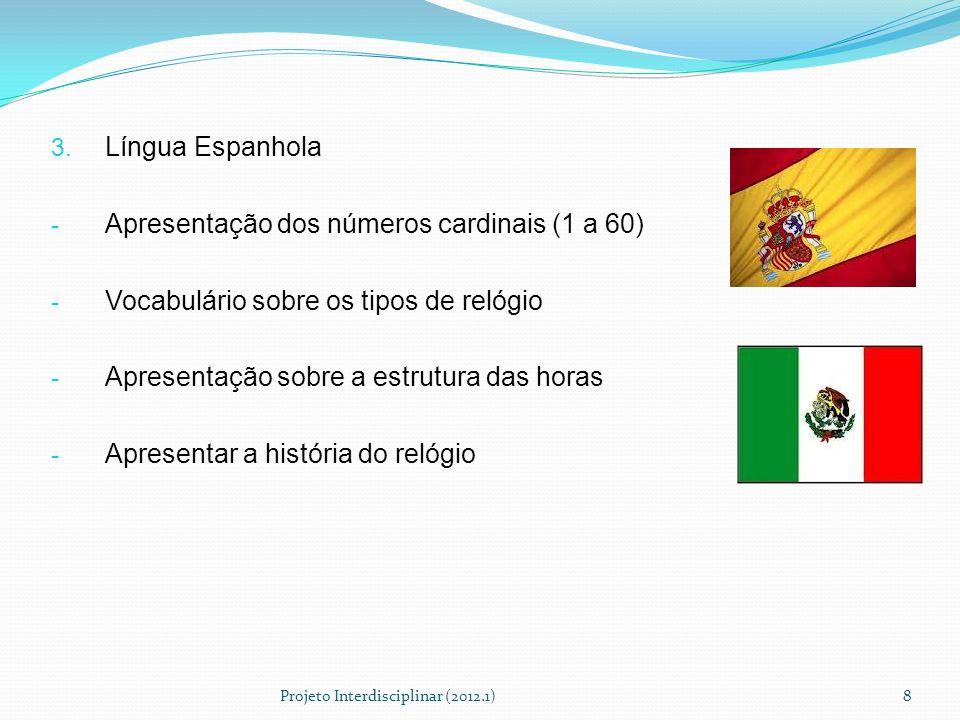 3. Língua Espanhola - Apresentação dos números cardinais (1 a 60) - Vocabulário sobre os tipos de relógio - Apresentação sobre a estrutura das horas -