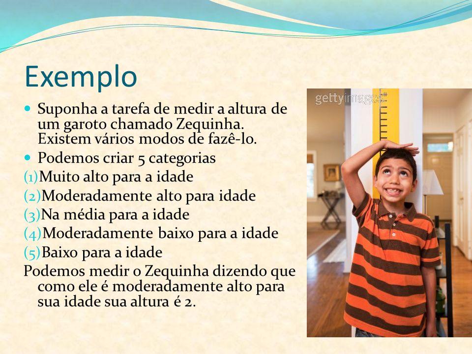 Exemplo Suponha a tarefa de medir a altura de um garoto chamado Zequinha. Existem vários modos de fazê-lo. Podemos criar 5 categorias (1) Muito alto p