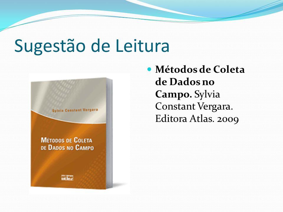 Sugestão de Leitura Métodos de Coleta de Dados no Campo. Sylvia Constant Vergara. Editora Atlas. 2009