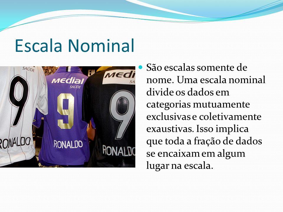 Escala Nominal São escalas somente de nome. Uma escala nominal divide os dados em categorias mutuamente exclusivas e coletivamente exaustivas. Isso im