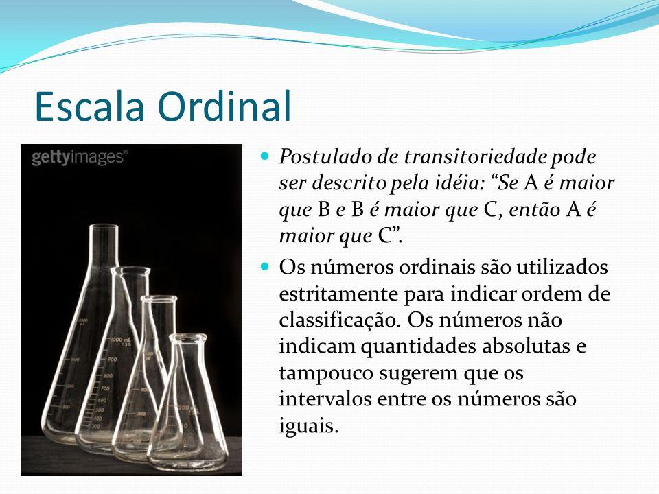 Escala Ordinal Postulado de transitoriedade pode ser descrito pela idéia: Se A é maior que B e B é maior que C, então A é maior que C. Os números ordi