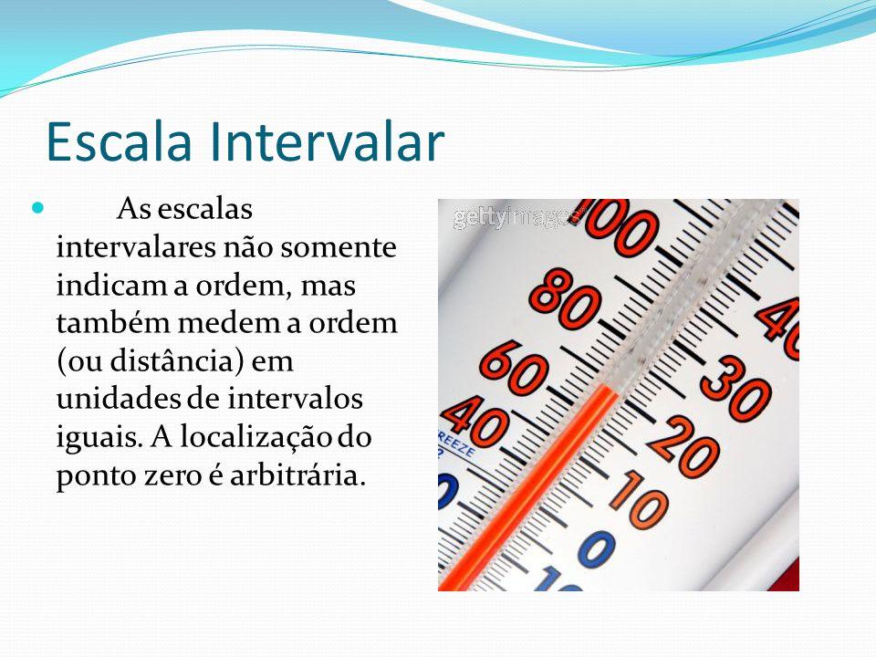 Escala Intervalar As escalas intervalares não somente indicam a ordem, mas também medem a ordem (ou distância) em unidades de intervalos iguais. A loc