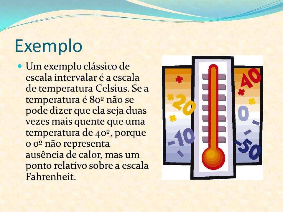 Exemplo Um exemplo clássico de escala intervalar é a escala de temperatura Celsius. Se a temperatura é 80º não se pode dizer que ela seja duas vezes m