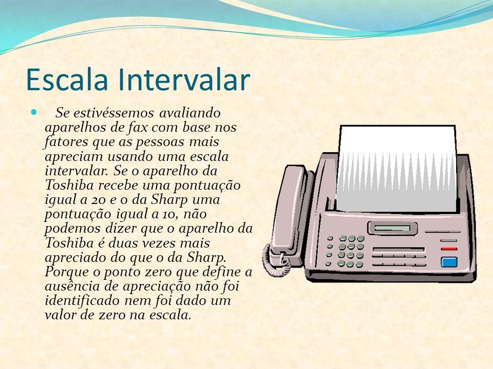 Escala Intervalar Se estivéssemos avaliando aparelhos de fax com base nos fatores que as pessoas mais apreciam usando uma escala intervalar. Se o apar