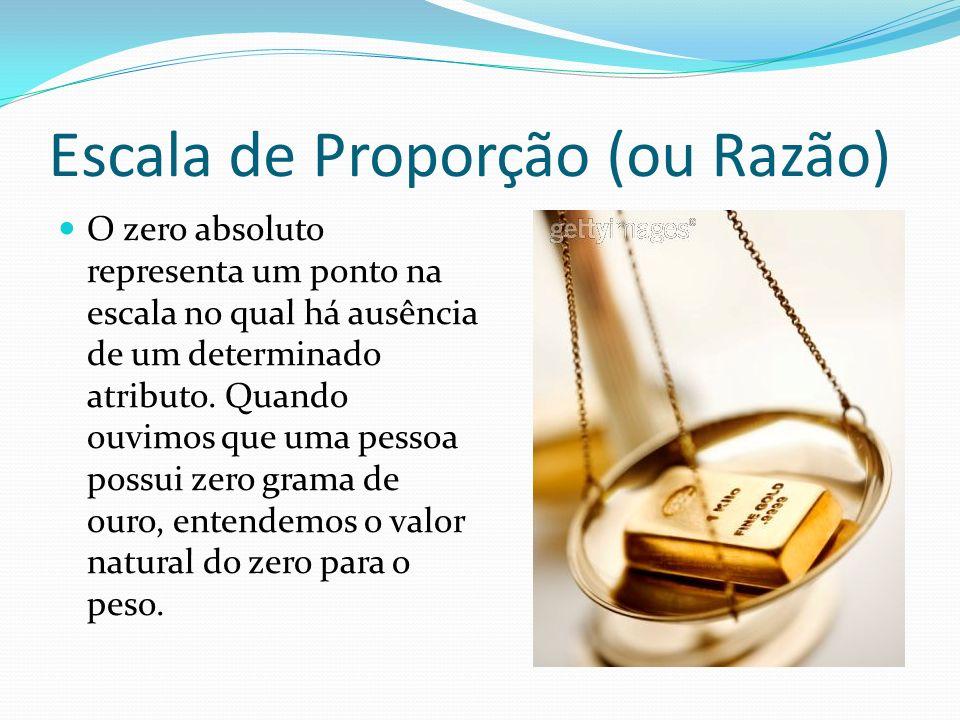 Escala de Proporção (ou Razão) O zero absoluto representa um ponto na escala no qual há ausência de um determinado atributo. Quando ouvimos que uma pe