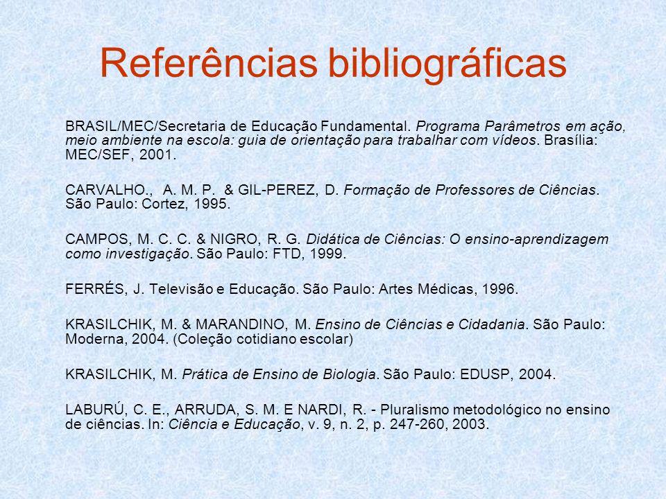 Referências bibliográficas BRASIL/MEC/Secretaria de Educação Fundamental. Programa Parâmetros em ação, meio ambiente na escola: guia de orientação par