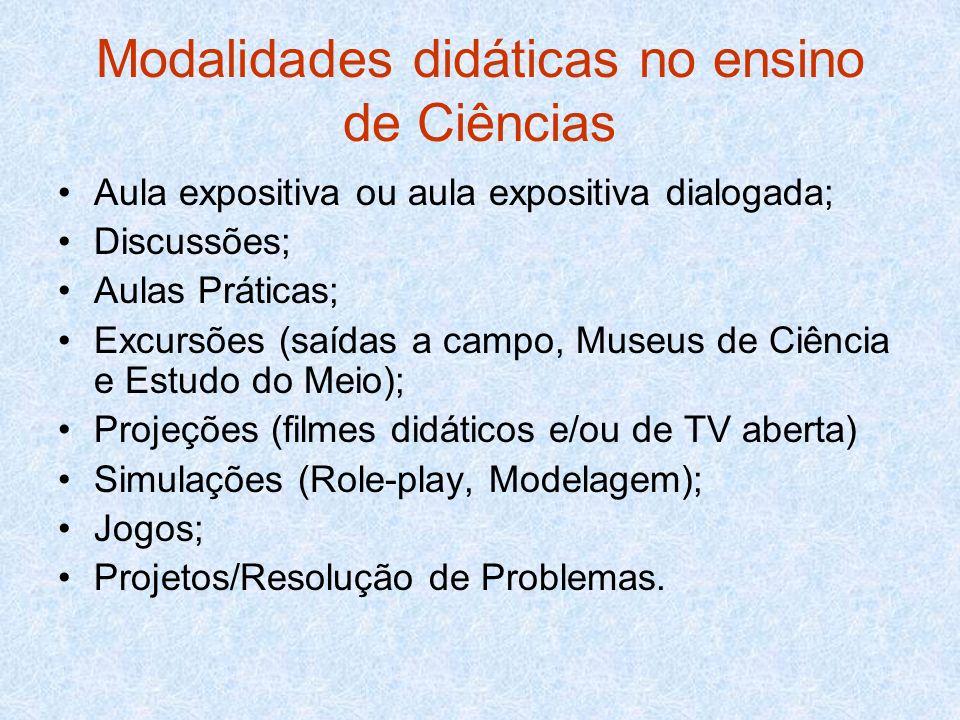 Modalidades didáticas no ensino de Ciências Aula expositiva ou aula expositiva dialogada; Discussões; Aulas Práticas; Excursões (saídas a campo, Museu