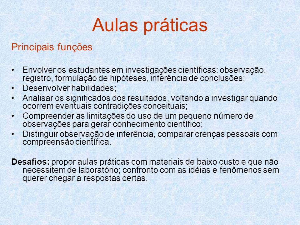 Aulas práticas Principais funções Envolver os estudantes em investigações científicas: observação, registro, formulação de hipóteses, inferência de co