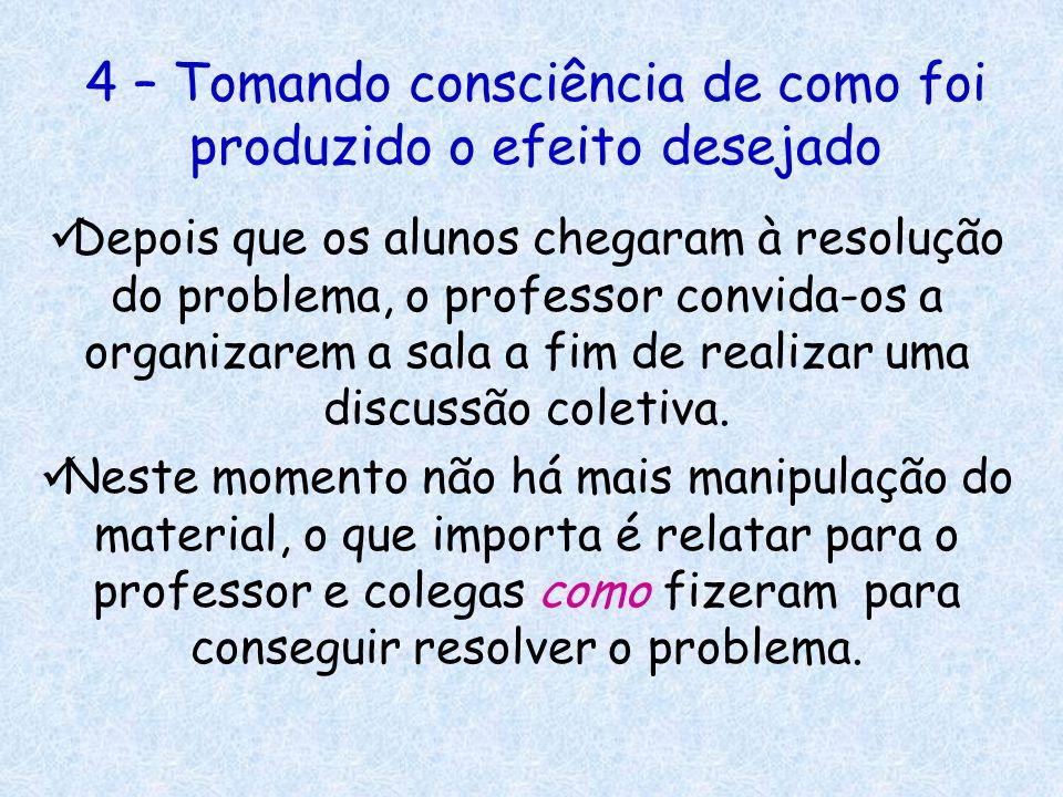 4 – Tomando consciência de como foi produzido o efeito desejado Depois que os alunos chegaram à resolução do problema, o professor convida-os a organi