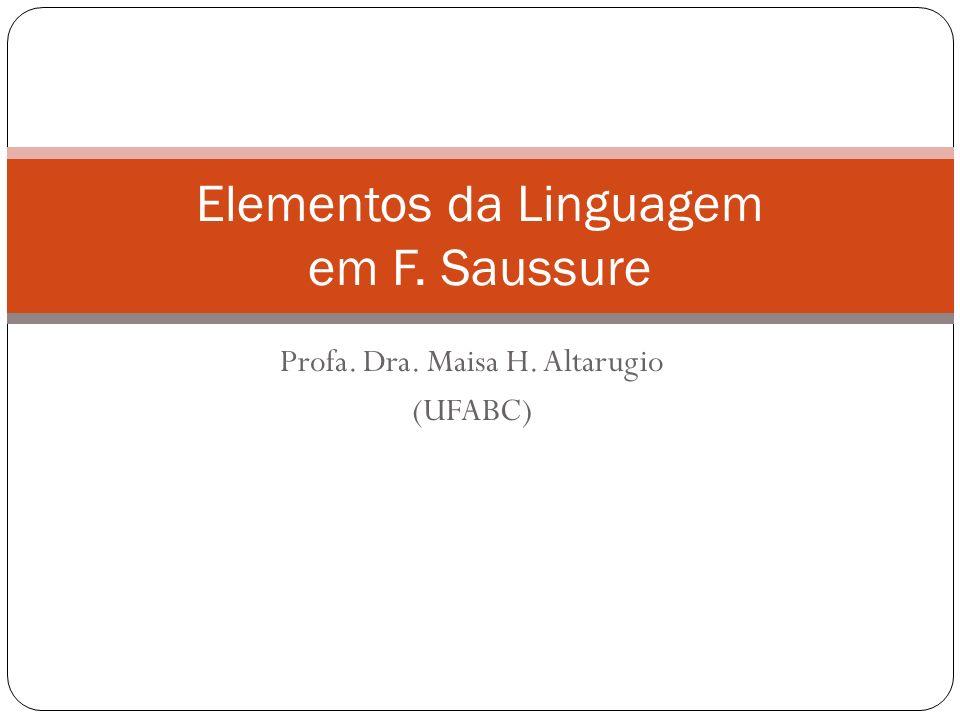 Profa. Dra. Maisa H. Altarugio (UFABC) Elementos da Linguagem em F. Saussure