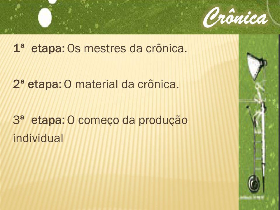 1ª etapa: Os mestres da crônica. 2ª etapa: O material da crônica. 3ª etapa: O começo da produção individual