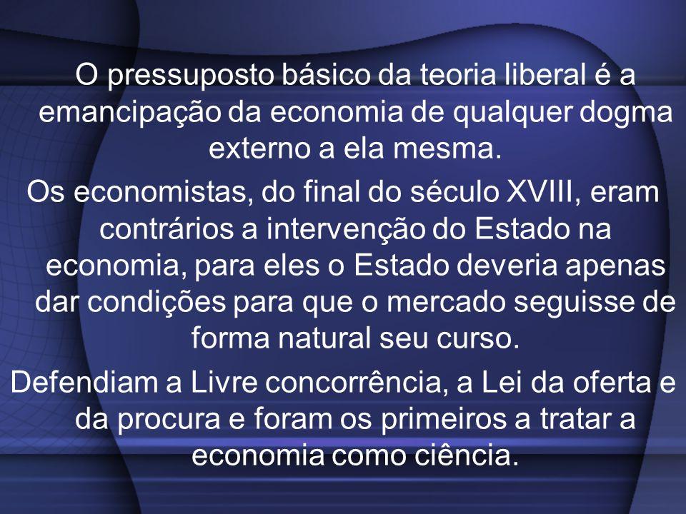 O pressuposto básico da teoria liberal é a emancipação da economia de qualquer dogma externo a ela mesma.