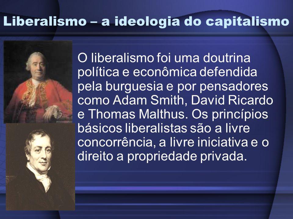 Liberalismo – a ideologia do capitalismo O liberalismo foi uma doutrina política e econômica defendida pela burguesia e por pensadores como Adam Smith, David Ricardo e Thomas Malthus.