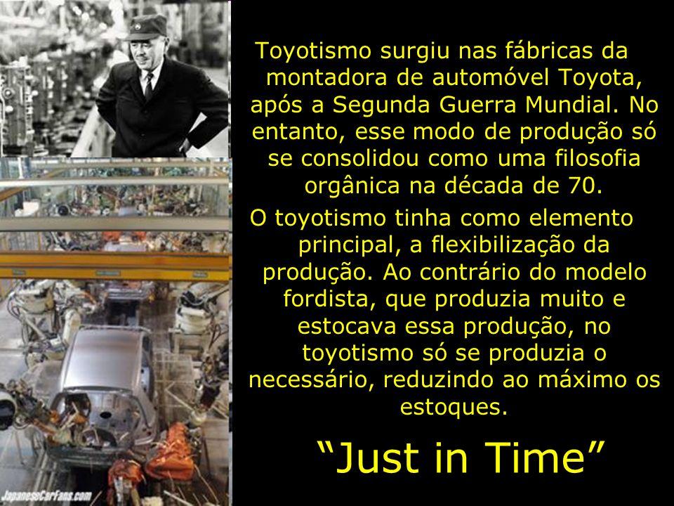 Toyotismo surgiu nas fábricas da montadora de automóvel Toyota, após a Segunda Guerra Mundial. No entanto, esse modo de produção só se consolidou como