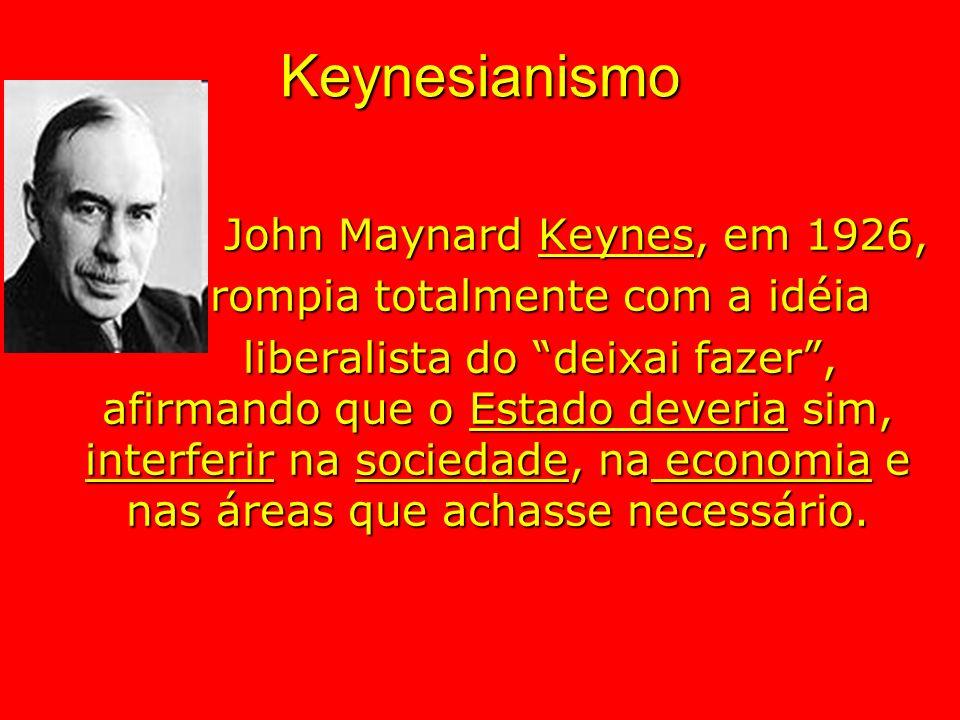 Keynesianismo John Maynard Keynes, em 1926, rompia totalmente com a idéia rompia totalmente com a idéia liberalista do deixai fazer, afirmando que o E