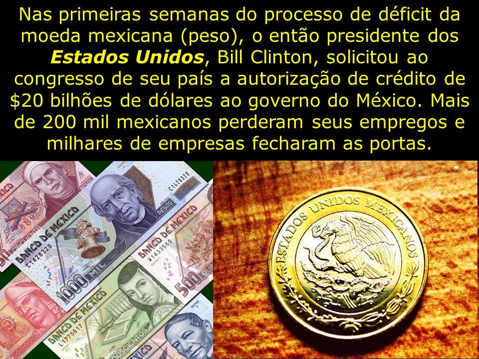 Nas primeiras semanas do processo de déficit da moeda mexicana (peso), o então presidente dos Estados Unidos, Bill Clinton, solicitou ao congresso de