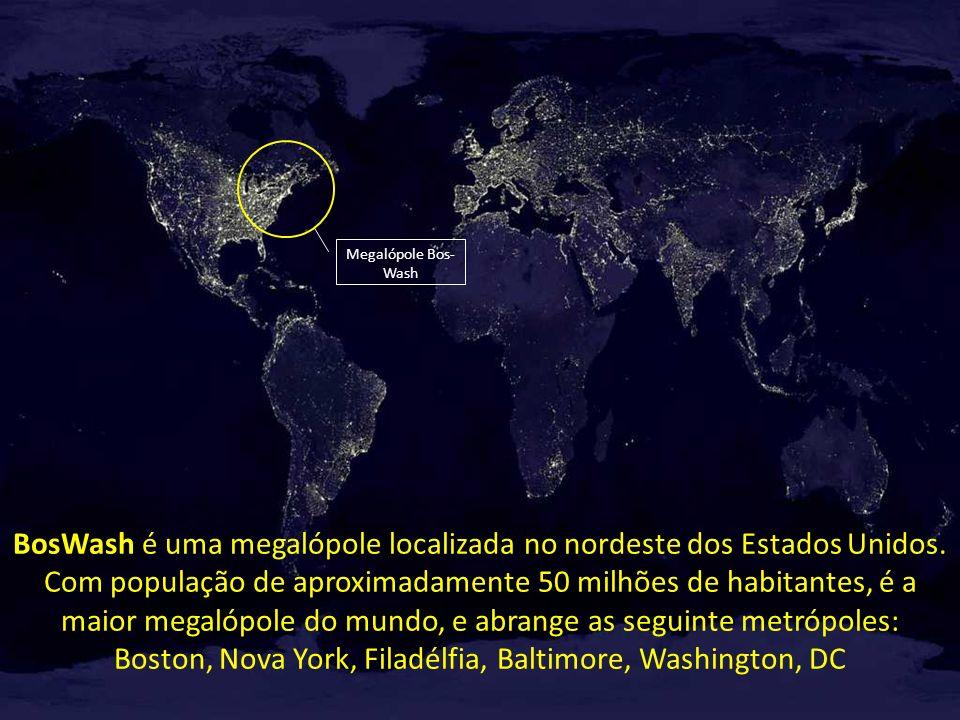 Megalópole Bos- Wash BosWash é uma megalópole localizada no nordeste dos Estados Unidos. Com população de aproximadamente 50 milhões de habitantes, é