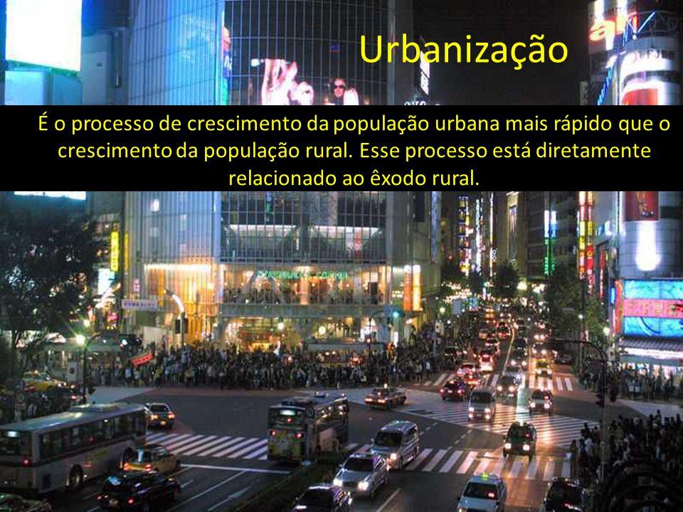 É o processo de crescimento da população urbana mais rápido que o crescimento da população rural. Esse processo está diretamente relacionado ao êxodo