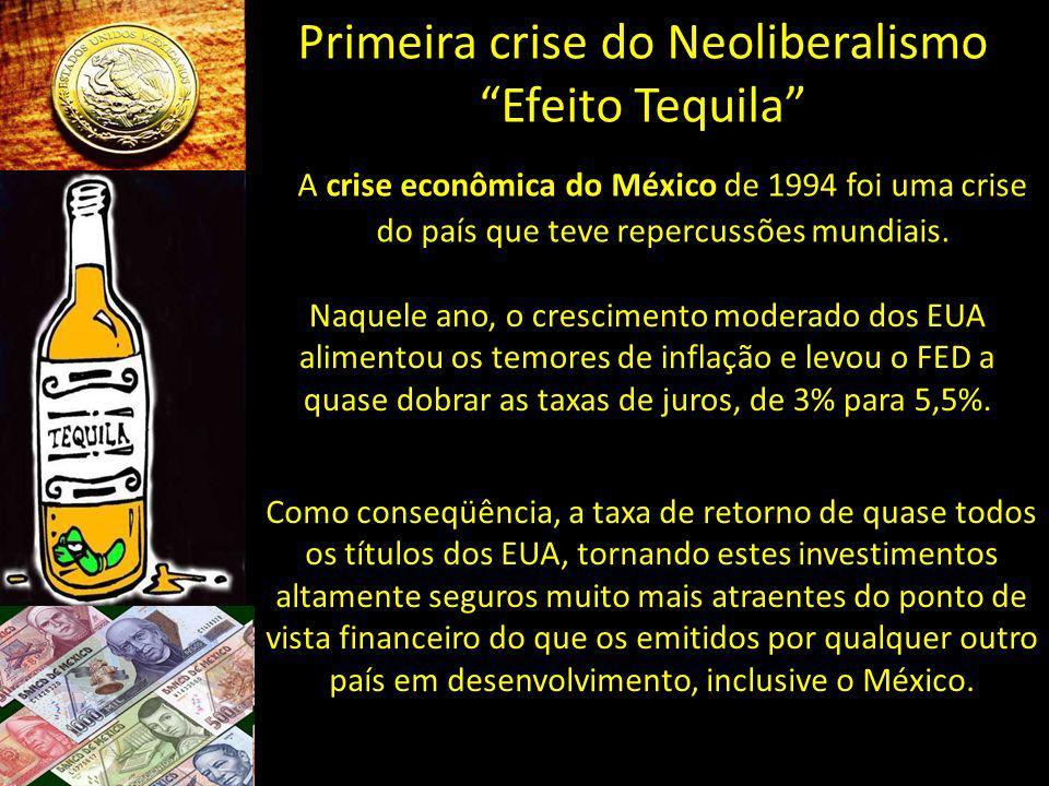 Primeira crise do Neoliberalismo Efeito Tequila A crise econômica do México de 1994 foi uma crise do país que teve repercussões mundiais. Naquele ano,
