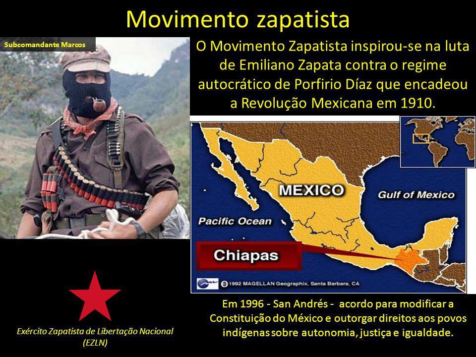 O Movimento Zapatista inspirou-se na luta de Emiliano Zapata contra o regime autocrático de Porfirio Díaz que encadeou a Revolução Mexicana em 1910.