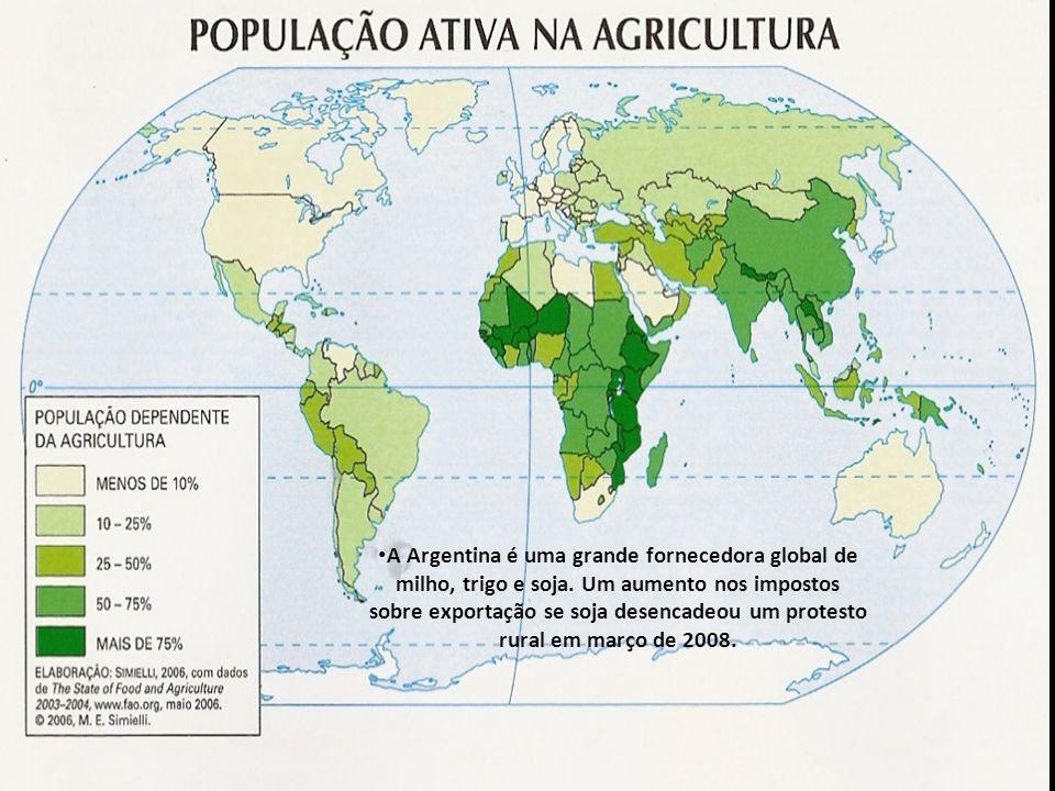 A Argentina é uma grande fornecedora global de milho, trigo e soja. Um aumento nos impostos sobre exportação se soja desencadeou um protesto rural em