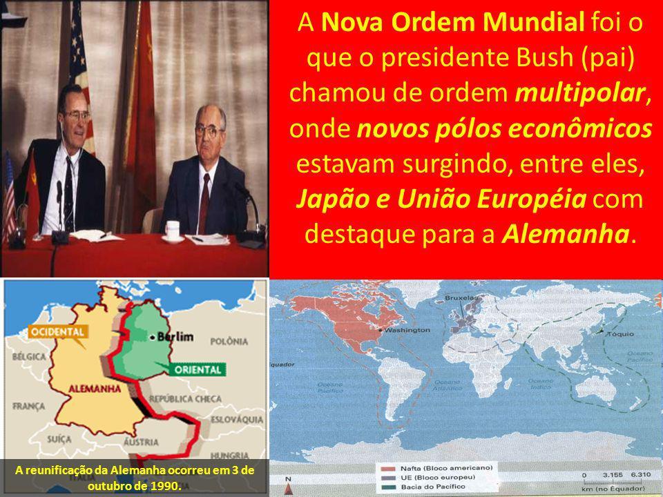 A Nova Ordem Mundial foi o que o presidente Bush (pai) chamou de ordem multipolar, onde novos pólos econômicos estavam surgindo, entre eles, Japão e U