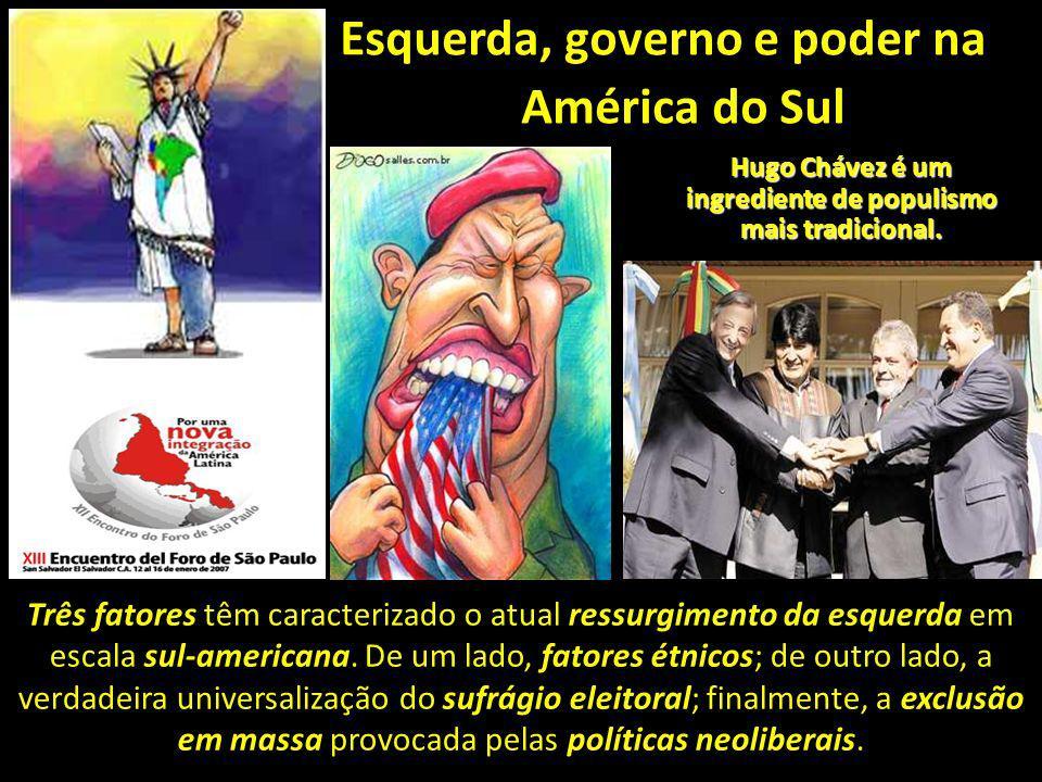 Esquerda, governo e poder na América do Sul Três fatores têm caracterizado o atual ressurgimento da esquerda em escala sul-americana. De um lado, fato
