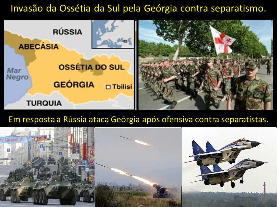 Invasão da Ossétia da Sul pela Geórgia contra separatismo. Em resposta a Rússia ataca Geórgia após ofensiva contra separatistas.