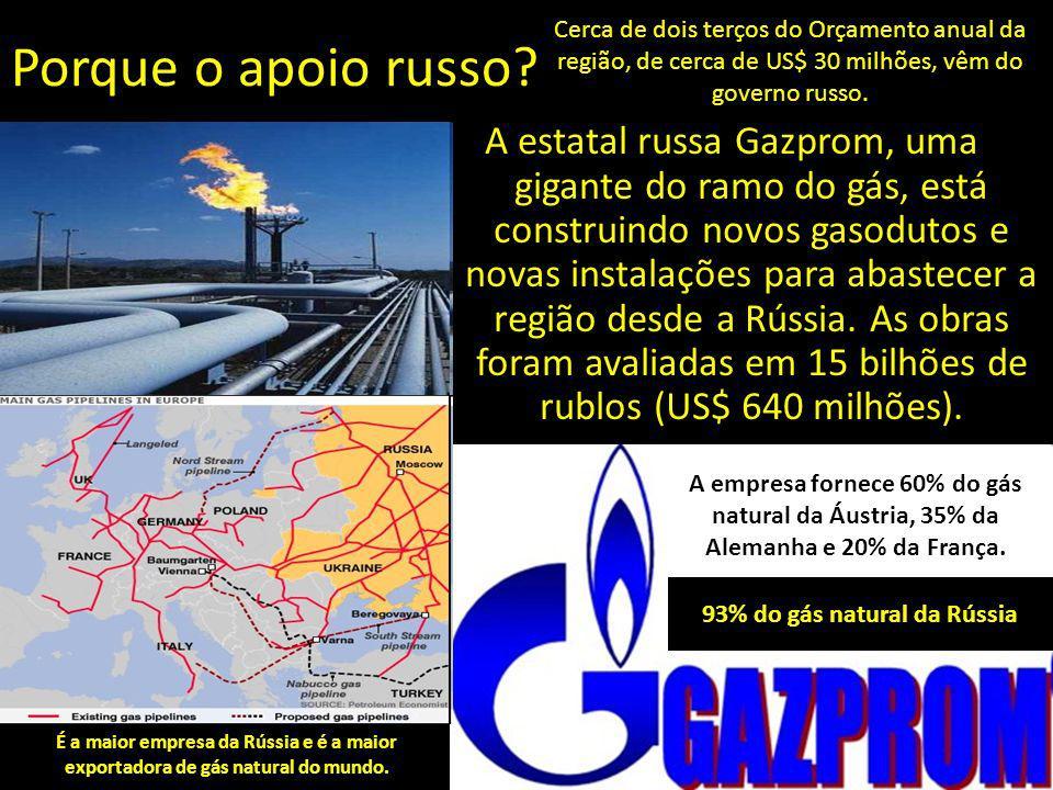 Porque o apoio russo? A estatal russa Gazprom, uma gigante do ramo do gás, está construindo novos gasodutos e novas instalações para abastecer a regiã
