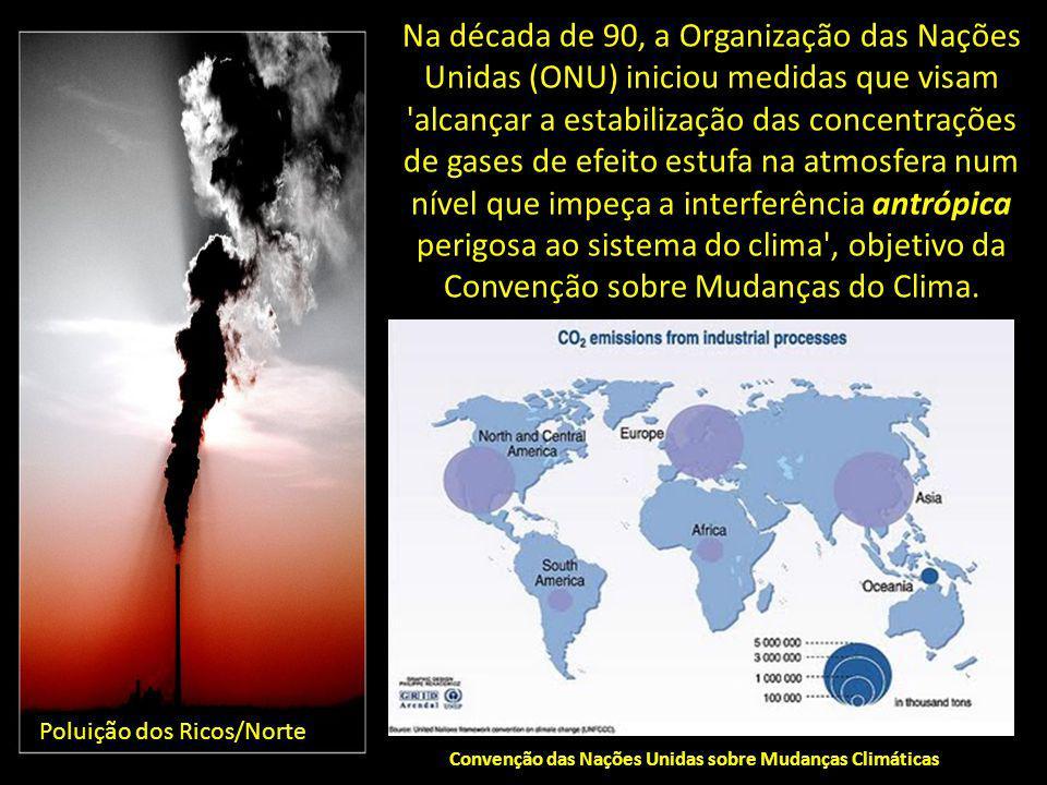 Na década de 90, a Organização das Nações Unidas (ONU) iniciou medidas que visam 'alcançar a estabilização das concentrações de gases de efeito estufa