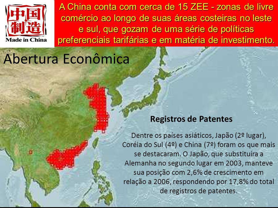 A China conta com cerca de 15 ZEE - zonas de livre comércio ao longo de suas áreas costeiras no leste e sul, que gozam de uma série de políticas preferenciais tarifárias e em matéria de investimento.