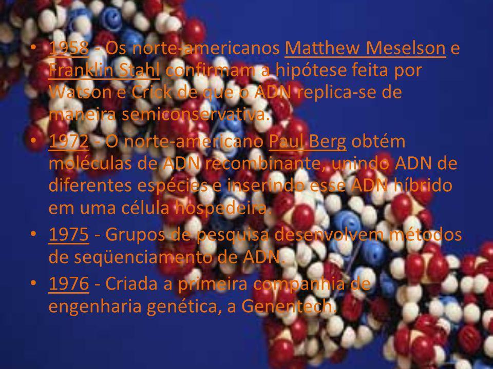 1958 - Os norte-americanos Matthew Meselson e Franklin Stahl confirmam a hipótese feita por Watson e Crick de que o ADN replica-se de maneira semicons