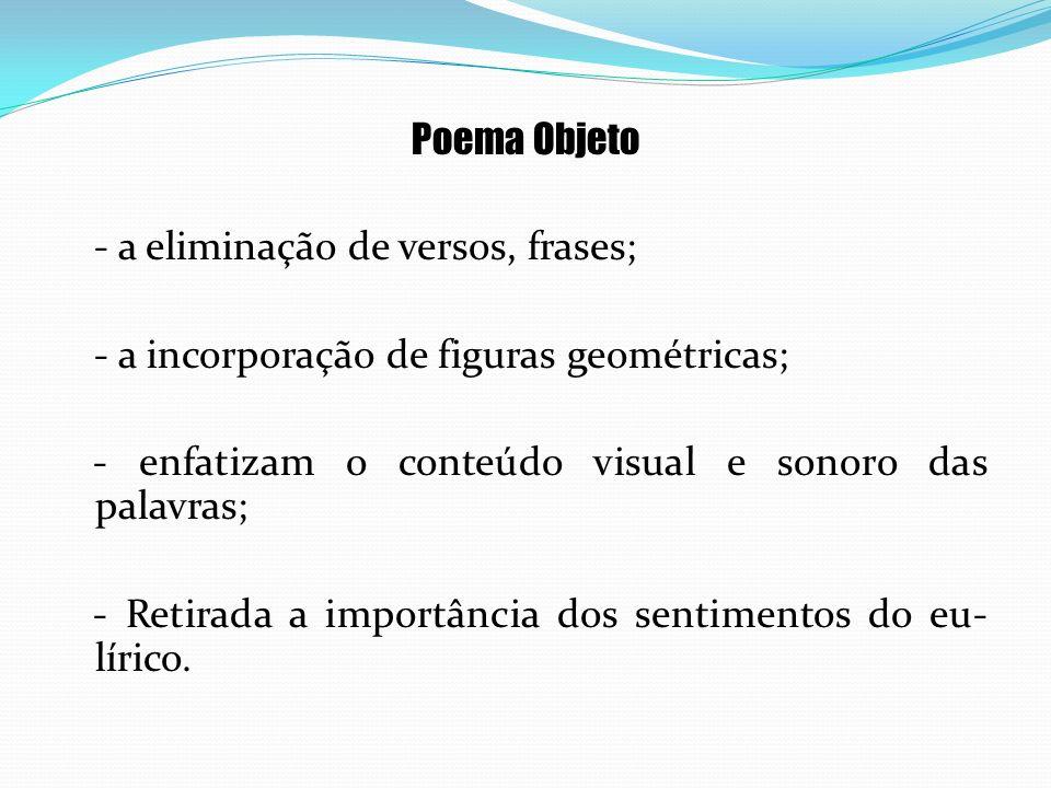 Poema Objeto - a eliminação de versos, frases; - a incorporação de figuras geométricas; - enfatizam o conteúdo visual e sonoro das palavras; - Retirad