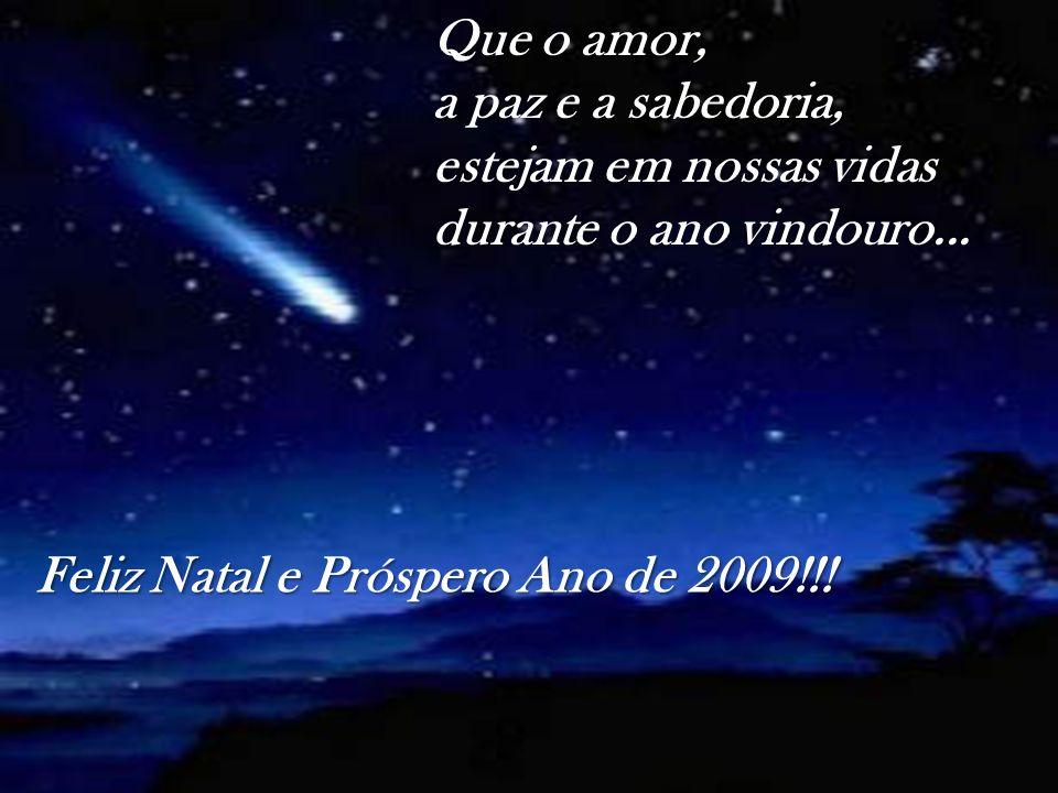 Que o amor, a paz e a sabedoria, estejam em nossas vidas durante o ano vindouro... Feliz Natal e Próspero Ano de 2009!!!
