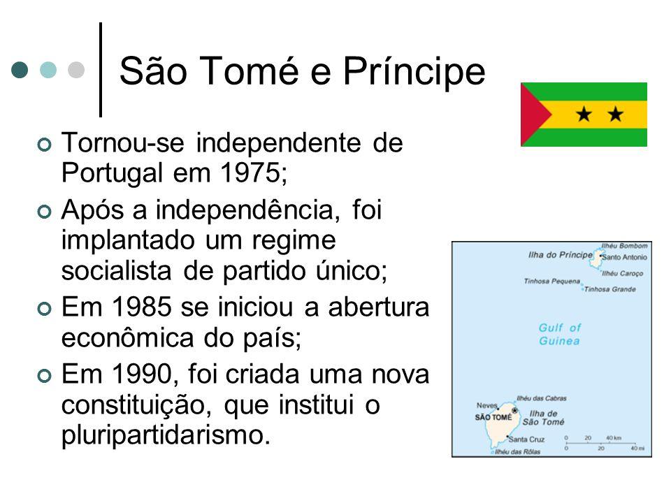 São Tomé e Príncipe Tornou-se independente de Portugal em 1975; Após a independência, foi implantado um regime socialista de partido único; Em 1985 se